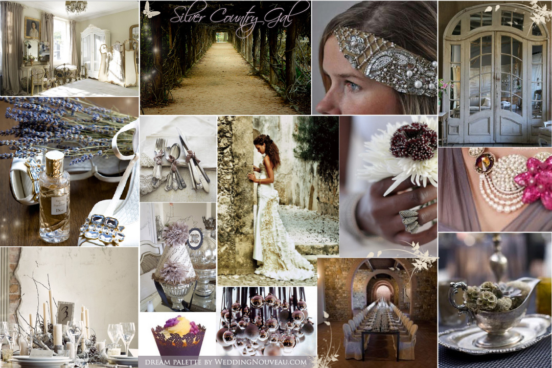 Countryside vintage and silver wedding inspiration board from wedding